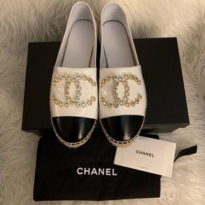Chanel Crystal Logo Leather Espadrilles 36 / 6